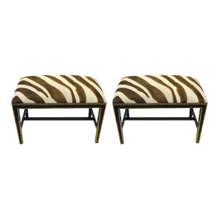 Zebra Printed Hide Ottomans or Benches, with Brass Nailhead Detailing - a Pair