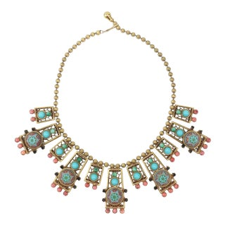 Byzantine Style Faux Turquoise & Coral Bib Necklace For Sale