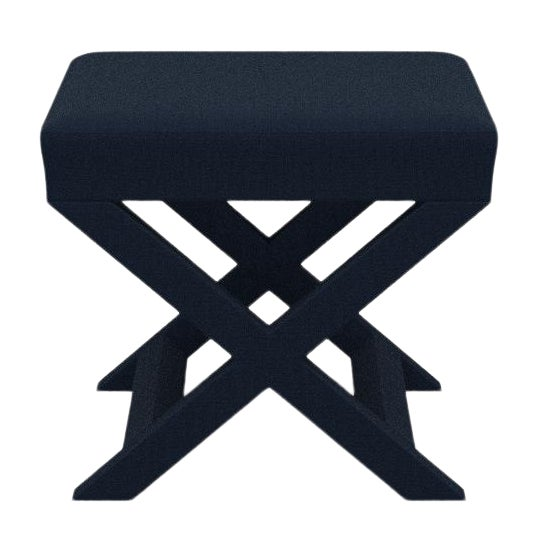 X Bench in Navy Linen For Sale