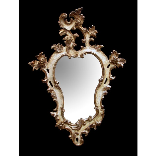 Early 20th Century A Fanciful Venetian Rococo Revival Ivory Painted and Parcel-Gilt Cartouche-Shaped Miror For Sale - Image 5 of 5