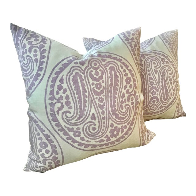 "Belgian Raoul ""Mira"" Paisley in Lilac Down Filled Pillows - a Pair, 21"" For Sale"