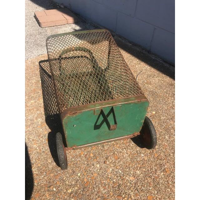 Vintage Rustic Metal Mesh Rolling Basket For Sale In Saint Louis - Image 6 of 7