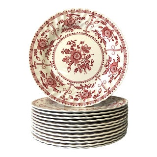 1970s Indies Red Transferware Ironstone Dinner Plates - Set of 13 For Sale