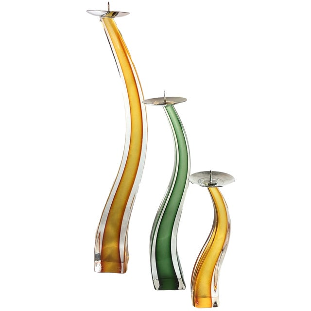 Green Ogetti Murano Italian Giuliano Tosi Glass Candlesticks - Set of 3 For Sale - Image 8 of 8