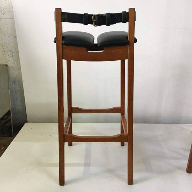 Set of 4 Leather Strap Danish Barstools For Sale - Image 4 of 7