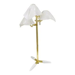 Italian Murano Glass Tripod Leaf Table Lamp by Franco Luce Circa 1970s For Sale