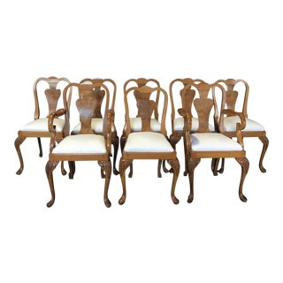 French Burled Walnut & Claw Foot Dining Chairs -Set of 8 For Sale