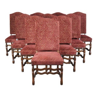 Arte De Mexico Oak & Paisley Tuscan Spanish Revival Dining Chairs - Set of 10 For Sale