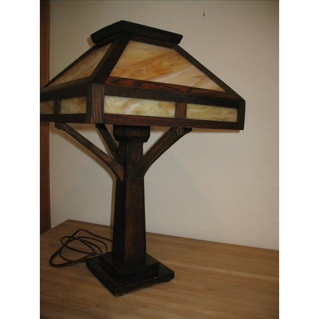 Vintage Antique Arts & Crafts Mission Oak Lamp - Image 6 of 7