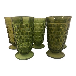 Vintage Olive Green Indiana Glass Company Fostoria Glasses - Set of 6 For Sale