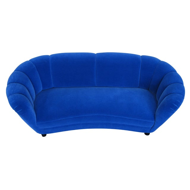 Copper Danish Deco Blue Mohair Settee For Sale - Image 7 of 10