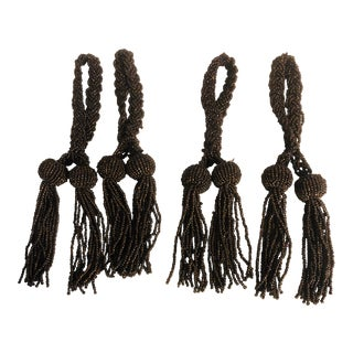 Late 20th Century Brown Bead Napkin Ring Tassels- Set of 4 For Sale