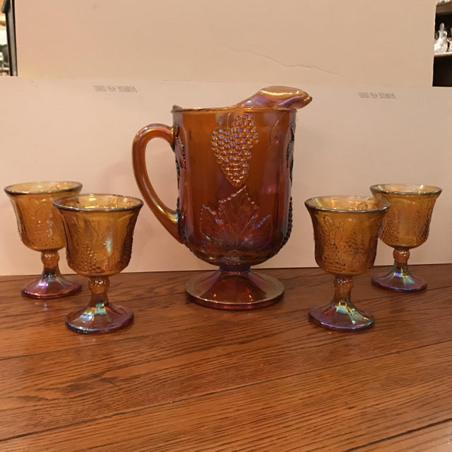Antique Carnival Glass Pitcher & Glasses - Set of 5 - Image 2 of 10