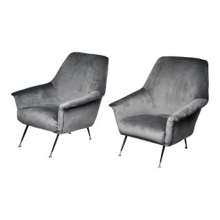 Italian Mid Century Chairs With Gray Velvet Upholstery and Metal Legs - Pair For Sale