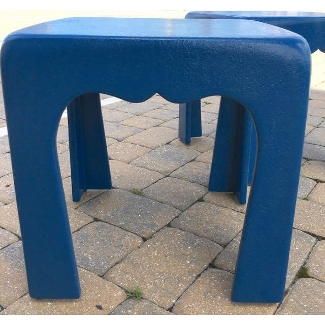 Vintage Blue Fiberglass Occasional Tables - A Pair For Sale - Image 4 of 13