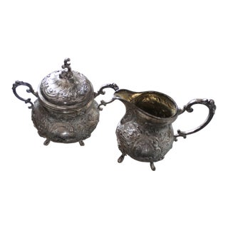 Early 20th Century Dainty Repoussé Creamer and Sugar 800 Silver - a Pair For Sale