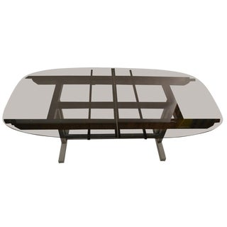 Unusual Plate Glass Extension Dining Table For Sale