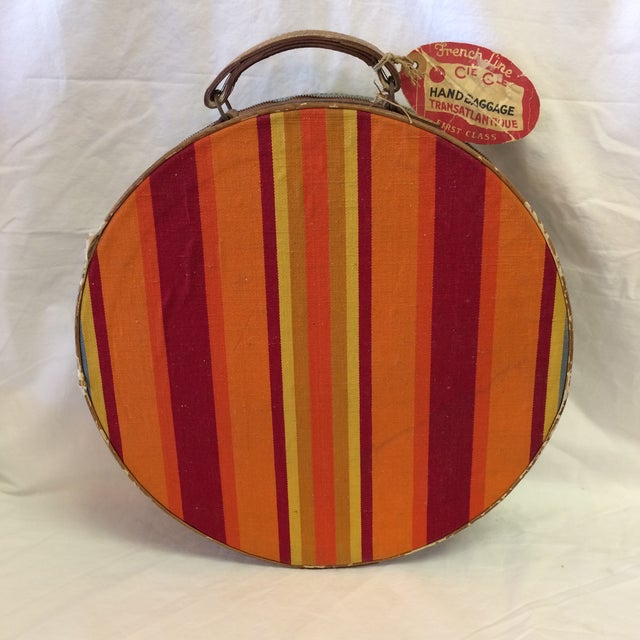 Vintage Round Carry on Suitcase With Stripes and French Train Label For Sale - Image 11 of 11