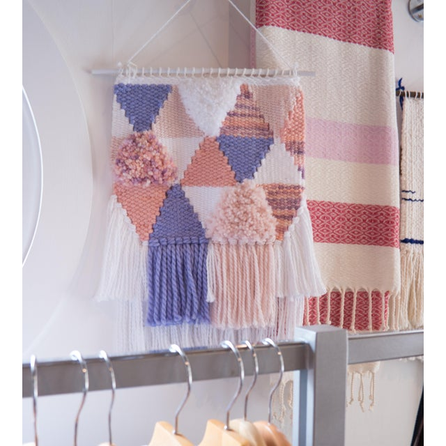 Handwoven Pink & Purple Wall Hanging - Image 2 of 6