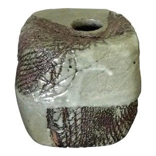 Mid-Century Studio Pottery Brutalist Style Square Vase For Sale