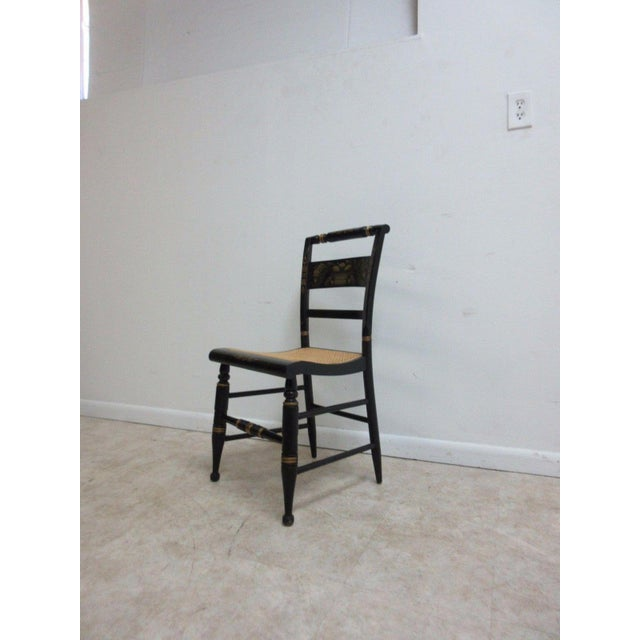 Mid-Century Modern Vintage Hitchcock Style Cane Seat Side Chair For Sale - Image 3 of 10