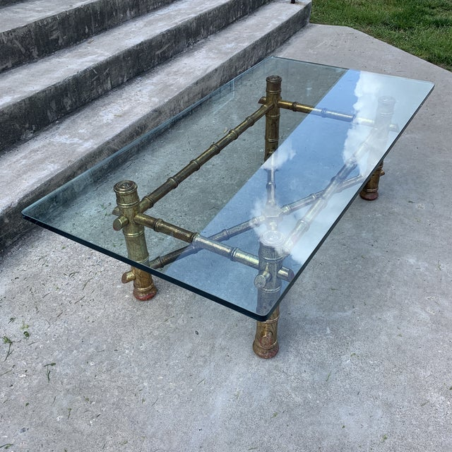 1970s 1970s Italian Gilt Faux Bamboo Glass Top Coffee Table For Sale - Image 5 of 13