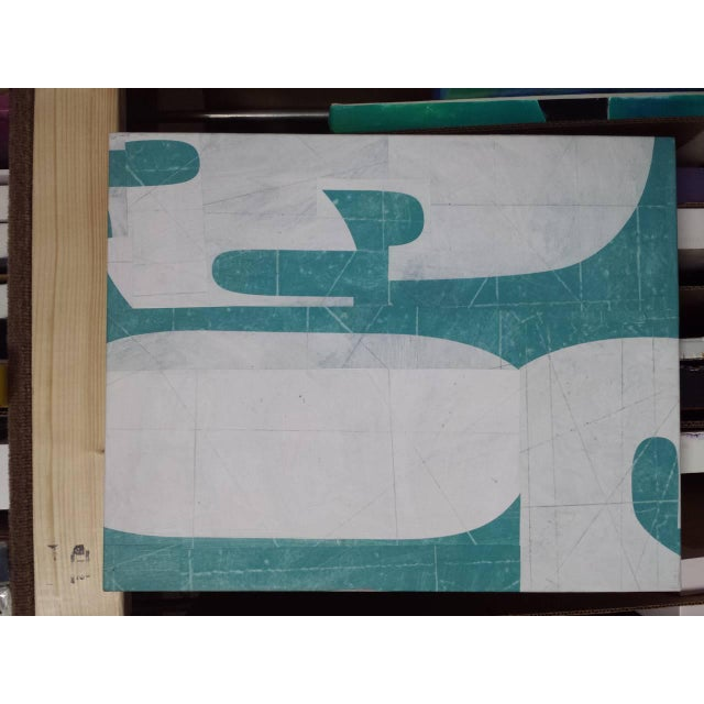 "Green ""PDP585ct12"" Modern Collage on Canvas by Cecil Touchon For Sale - Image 8 of 9"