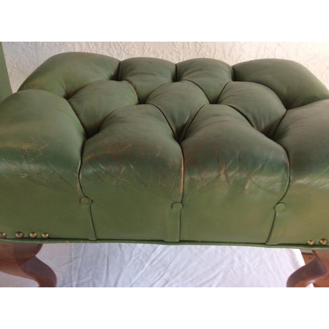 1970s Mid Century Green Leather Spoon Chair and Ottoman For Sale - Image 5 of 12