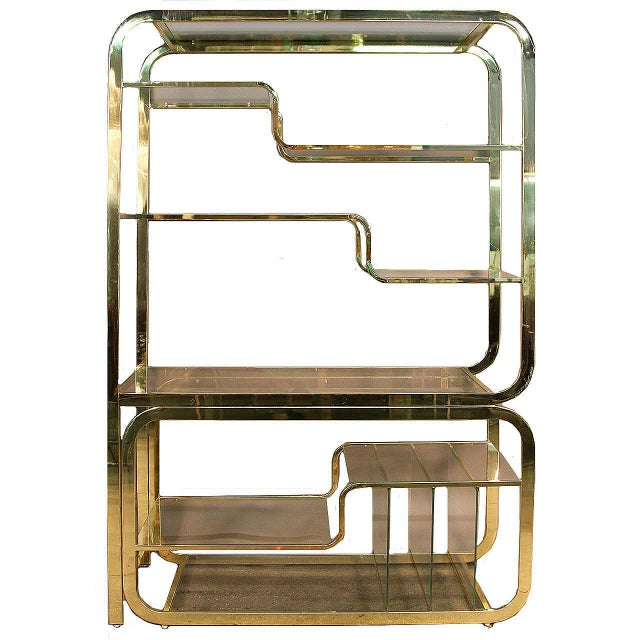 1970s Mid-Century Modern Milo Baughman Extendable Brass and Glass Étagère - 2 Piece For Sale - Image 13 of 13