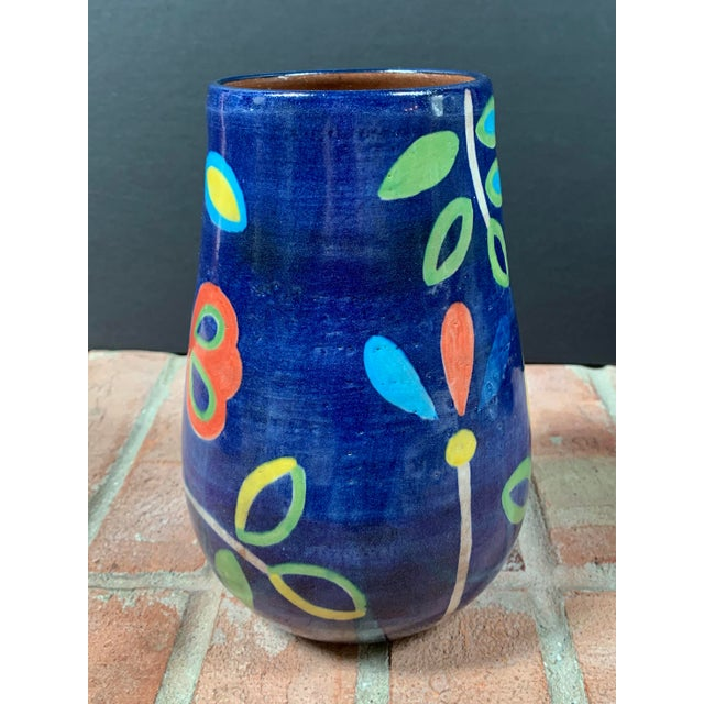 2000 - 2009 Hand Painted Terra Cotta Blue Vase With Colorful Modern Flowers For Sale - Image 5 of 10