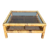 Image of Vintage Woven Wrapped Rattan Coffee Table For Sale