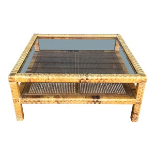 Vintage Woven Wrapped Rattan Coffee Table For Sale