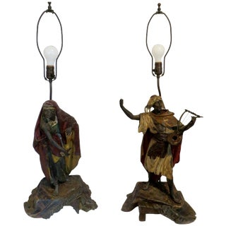 Antique French Moroccan Metal Lamps - Pair For Sale