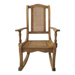 Vintage Wood & Cane Porch Rocking Chair For Sale