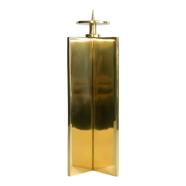 Global Views Brass Axis Candleholder For Sale
