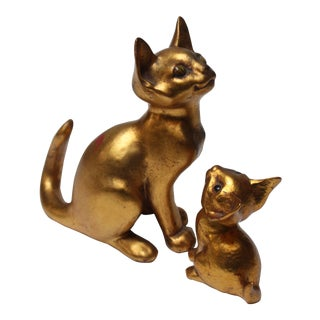 Cat and Kitten Duo by Freeman & McFarlin Gold-Leaf Ceramic Duck Sculptures For Sale
