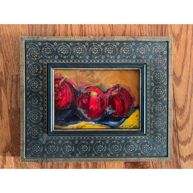 Original Contemporary Modernist Alexandra Brown Still Life Small Oil Painting With Apples For Sale - Image 4 of 4