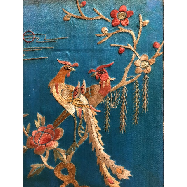 Turquoise Chinoiserie Silk Embroidered Tea Caddy, circa 1920's For Sale - Image 8 of 9