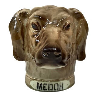 Jar Saint Clement French Majolica Hound Medor Tobacco For Sale