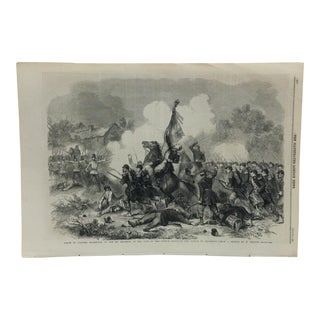 """Mid 19th Century Antique """"Death of Colonel Maleville - of the 55th Regiment of the Line of the French Army"""" The Illustrated London News Print For Sale"""