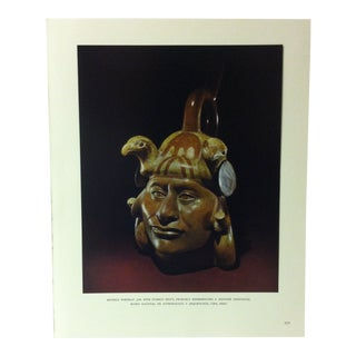"""Circa 1960 """"Mochica Portrait Jar With Stirrup Spout"""" Treasures of Ancient America Mounted Print For Sale"""