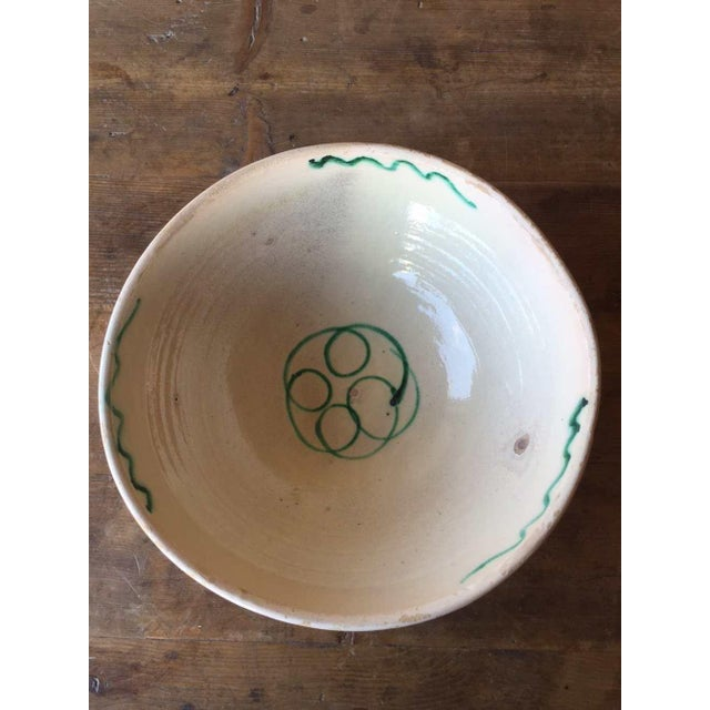 The seller says: If you like rustic bowls, this antique Pugliese bowl is a beauty. This large round glazed antique ceramic...