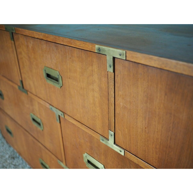 Brass 20th Century Campaign Baker Furniture Mahogany Dresser For Sale - Image 7 of 9