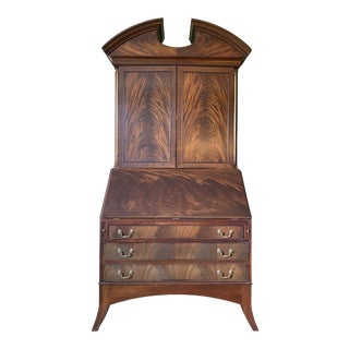 Crotch Mahogany Secretary Desk W/ Broken Pediment For Sale