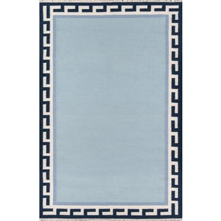 "Erin Gates Thompson Hinkley Blue Hand Woven Wool Area Rug 7'6"" X 9'6"" For Sale"