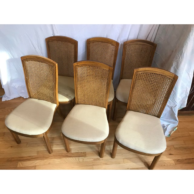 Drexel Accolade II Campaign Style Cane Back Dining Side Chairs - Set of 6 For Sale - Image 11 of 11