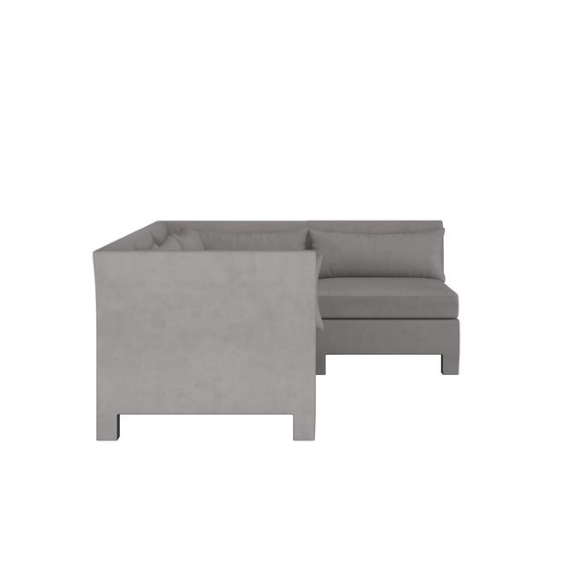 Transitional Velvet Otter 4 Piece Sectional For Sale - Image 3 of 9