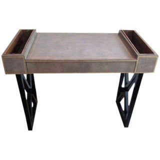 French Modern Neoclassical Leather Desk or Writing Table with X Frame Base
