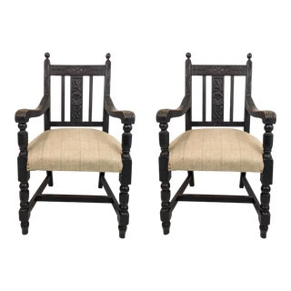 19th Century Carved French Oak Armchairs - A Pair
