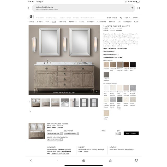 Restoration Hardware Double Maison Vanity Base For Sale - Image 11 of 13